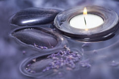 Luxury with lavender bath water Royalty Free Stock Image