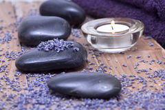 Luxury with lavender and candlelight Stock Photography