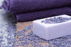 Luxury with lavender soap Royalty Free Stock Photo