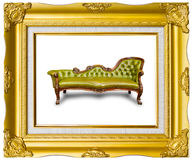 Luxury leather armchair in photo frame. Luxury leather armchair in golden wood photo image frame royalty free stock image