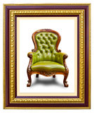 Luxury leather armchair in photo frame. Luxury leather armchair in golden wood photo image frame royalty free stock photo