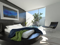 Luxury leather bed in a modern bedroom Stock Images