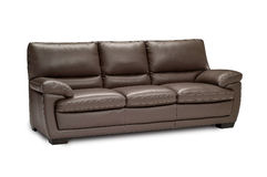 Luxury leather brown sofa isolated on white background Royalty Free Stock Image