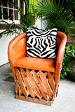 Luxury Leather Patio Chair Stock Photography