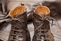 Luxury leather shoes. Men's autumn and spring Stompers Stock Images