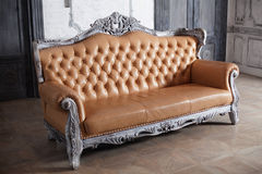 Luxury leather sofa style borokko in a beautiful Royalty Free Stock Images