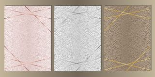 Luxury Leopard Cover Set with Gold Lines. Gold, silver and pink gold and leopard skin cover set. Luxury metal foil and animal abstract A4 background for stock illustration