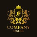 Luxury Letter `F` Logo. Luxury and elegant letter `F` logo illustration Royalty Free Stock Image