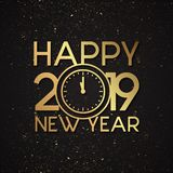 Luxury letter Happy New Year 2019 with gold grunge vector effect. Elegance letter vector Happy New Year 2019 with clock. Vector illustration EPS.8 EPS.10 stock illustration