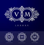 Luxury Letter Logo. Simple and elegant floral design logo, Elegant lineart luxury vector logo design Stock Image