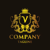 Luxury Letter `V` Logo Stock Image