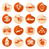 Luxury life stickers. Set of luxury life stickers Stock Images