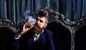 Luxury lifestyle, rich, power, style, fashion, wealth concept. Luxury lifestyle, rich, power, style, fashion, wealth, money concept. Bearded man with confident royalty free stock photos