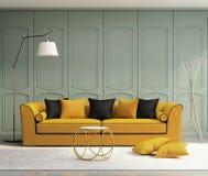 Luxury light green living room vector illustration