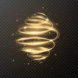 Luxury light spiral with glitter and stars. Christmas design. Magic sparkle swirl trail effect on transparent background stock illustration