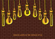 Luxury lighting decoration over the brick wall background Stock Photography