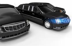 Luxury Limos Rental. Concept Illustration. Three Black Elegant Limousines on White Stock Photography