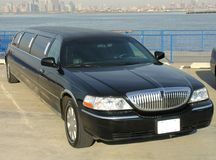 Luxury Lincoln Limo. Luxury Corporate Black Lincoln Limousine Side View Stock Photography