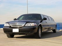 Luxury Lincoln Limo. Luxury Corporate Black Lincoln Limousine Side View Royalty Free Stock Photo
