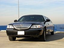 Luxury Lincoln Limo. Luxury Black Lincoln Limousine View Royalty Free Stock Photos