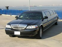 Luxury Lincoln Limo. Luxury Black Lincoln Limousine Top View Stock Photo
