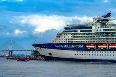 Luxury liner and Celebrity Millennium water bus and the Bay Bridge. Shooting location : Yokohama-city kanagawa prefecture stock photo