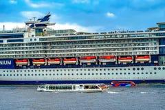 Luxury liner and Celebrity Millennium Water bus. Shooting location : Yokohama-city kanagawa prefecture stock image