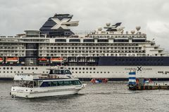Luxury liner and Celebrity Millennium Water bus. Shooting location : Yokohama-city kanagawa prefecture royalty free stock image