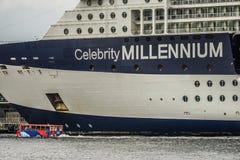 Luxury liner and Celebrity Millennium Water bus. Shooting location : Yokohama-city kanagawa prefecture royalty free stock photography