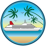 Luxury Liner. Cruise ship as viewed from nearby beach Stock Images