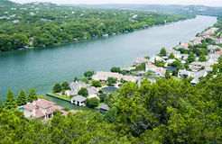 Luxury Living. Scenic view of luxury homes built along a river Stock Photo