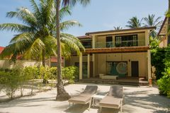 Luxury living house on the beach located at the tropical island Royalty Free Stock Photos