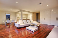 Luxury Living Room. Living room in a luxury home also showing rear courtyard Stock Photography