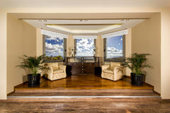 Luxury living room with beautiful view Royalty Free Stock Photo