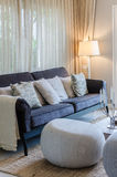 Luxury living room with blue sofa Royalty Free Stock Photos
