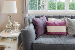 Luxury living room design with classic sofa, armchair and decora Stock Photo