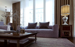 Luxury living room, dining room, art deco style Royalty Free Stock Image