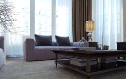 Luxury living room, dining room, art deco style Royalty Free Stock Images