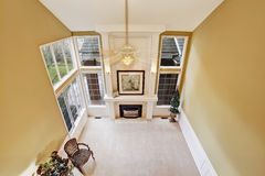 Luxury living room in empty house. Panoramic view Royalty Free Stock Photos