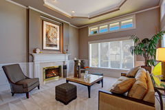 Luxury living room with fireplace royalty free stock photos
