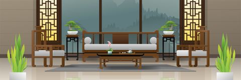 Luxury living room interior background with furniture in Chinese style stock illustration