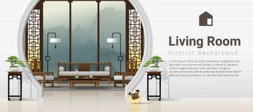 Luxury living room interior background with furniture in Chinese style. Vector , illustration royalty free illustration