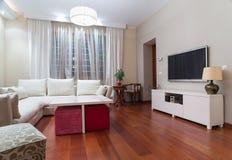 Luxury living room interior - evening shot Stock Photos