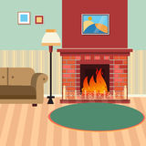Luxury Living Room Interior with Fireplace and Couch. Vector illustration Royalty Free Stock Image
