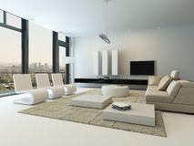Luxury living room interior with huge windows Royalty Free Stock Photography