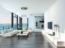Luxury living room interior with white couch and seascape view stock illustration
