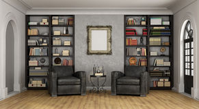 Luxury living room with large bookcase and armchairs Stock Photos