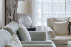 Luxury living room with sofa, chair and lamp Royalty Free Stock Photos