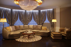 Luxury living room  with sofa and fireplace Royalty Free Stock Images