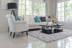 Luxury living room with white pillows on classic style sofa Royalty Free Stock Photo